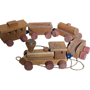 Vintage Wood Pull Train made by Young Things Toys  Engine 3 Cars and Caboose 1950s