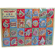 Child Wood Puzzel Victory A B C  Play Tray Made in England   1950