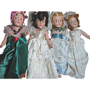 Four Small   Dream World Dolls  Original outfits  Composition Jointed Bodys
