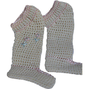 Vintage Knitted Baby or Doll  Booties Decorated with Pink Trim