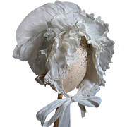 Stunning Bonnet White Cotton Trimmed with Lace  Ladies or Could be Used for Large Doll
