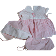 American Character Tiny Tears Doll  Pink and White Dress Panties  Bonnet