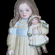 "Jan Hagara Porcelain Figurine Erin Holding Her Doll by Jan Hagara  MIB  5"""