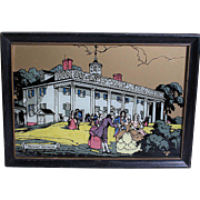 Vintage Reverse Printed Picture on Glass  Mount Vernon  by Kaiser
