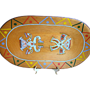 Large Vintage Wood Tray with South American Painting  Wood Tray is one Piece