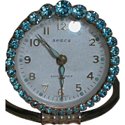 Semca German Made Alarm Clock Blue Rhinestone trim Seven Jewels Vintage