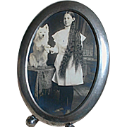Black & White Picture of Girl with very Long Hair and Her White Schipperke Dog in Silver Frame