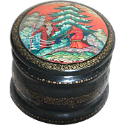 Very Small Round Black Lacquer Trinket  Box  Red Interior  Hand Painted with Father Christmas and a Maiden