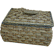 Old Straw Basket Blue Silk Quilted Lining  Suitable for Doll Display