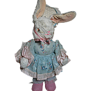 Vintage Stuffed Dressed Mother Rabbit  Nice Condition 1920s