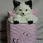 McCoy Kitten in a Basket Cookie Jar Pink basket  Cute Kitten   Vintage