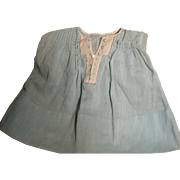 Vintage Fine Cotton Blue Doll Dress with Pleats & Fine Embroidery