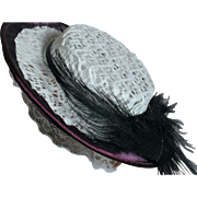Vintage Straw Doll Hat White with black trim and black Feather  1950s