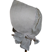 Antique White Cotton Ladies Bonnet or Childs  Could be used on a Doll