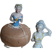 Two Half doll   One has an Original Pin Cushion  Two Germany 1/2 Dolls