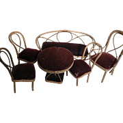 Antique Rattan Bentwood Doll Furniture Tea Time Set   6 Pieces  Settee  Table 4 Chairs