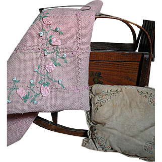 Antique Wood Accordian Doll Cradle with Fenner & Co.  at Mystic River, Connecticut Label & original Blanket 1873
