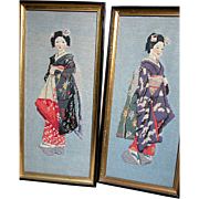 Two Vintage  Petite Point  Framed  Pictures Geisha Girls
