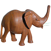 Vintage Carved Wood Elephant  One Piece Solid Wood