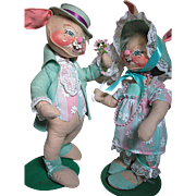 Large Annalee Rabbits Mr. and Misses Courting Rabbits Vintage with Stands