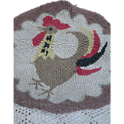 Vintage Hooked Chair Pad or Small Rug  With  a Rooster Chicken