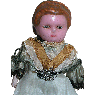 Small  Wax Over  Dollhouse Doll   Black glass Eyes Squeaker in Mid-Section Works 1800s