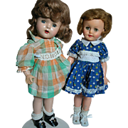 Two Vintage Dolls One Composition marked X and one Ideal Shirley Temple 1950s