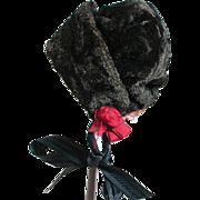 "Old Dark Brown Velvet Doll Bonnet Hat  3"" X 3"" X 3"" - Red Tag Sale Item"