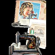 Vintage Casige Child Sewing Machine,  box,  Clamp, Instruc, 1920s