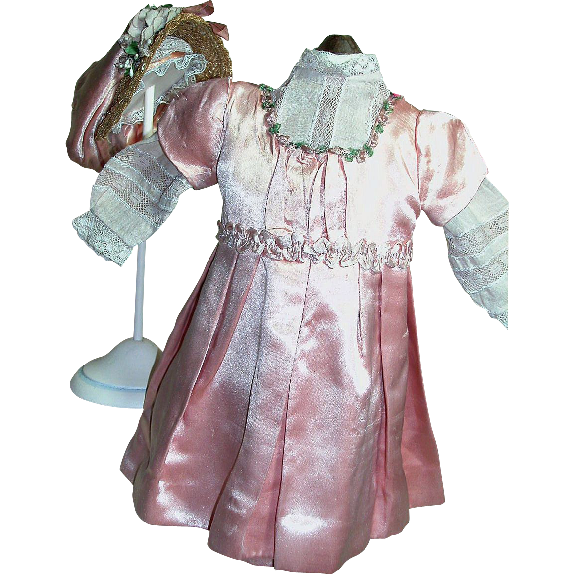 Old French Bebe Rose Satin Dress blouse u0026 Hat Outfit 10u0026quot; long SOLD on Ruby Lane