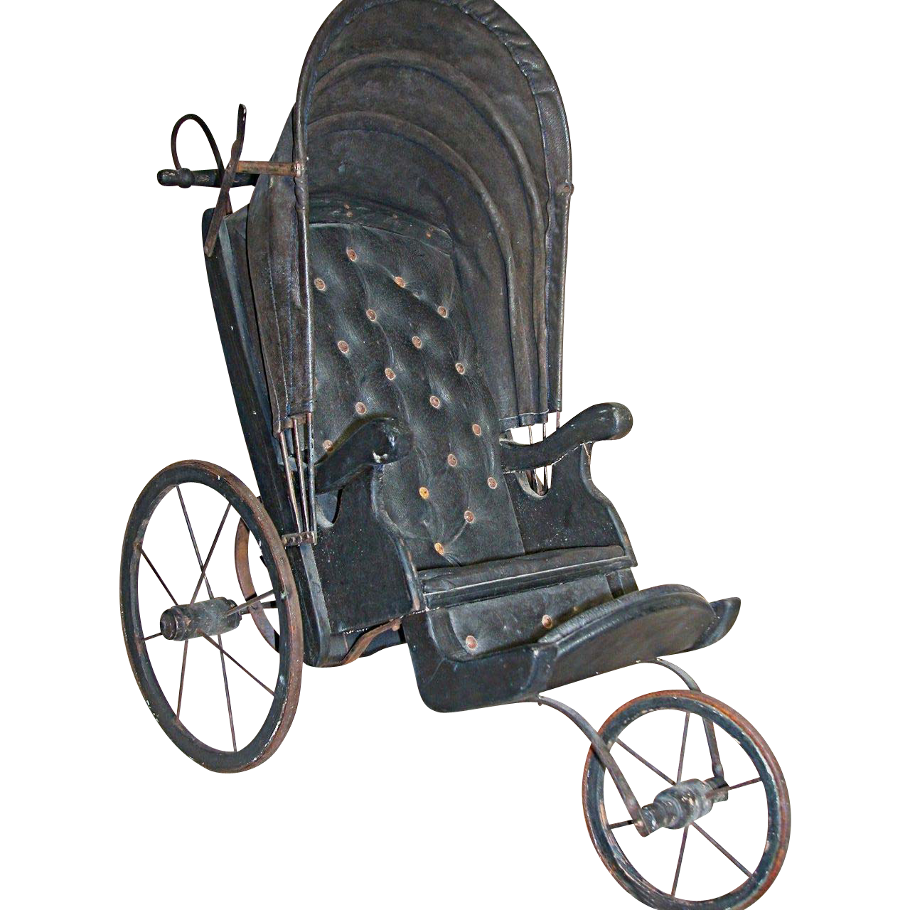 Black Three Wheel Leather Doll Buggy Or Carriage 24 Quot X 24