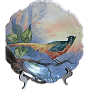 "Limoges Game Bird Plaque Flambeau Mark 11"" 1890-1914"