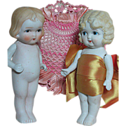 "Two Vintage 7"" All Bisque Dolls Made in Japan with Ribbon art Heart pillow 1920s"