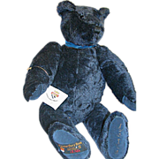 """Gund Canterbury Bear Dark Blue Mohair Jointed England """"Montaque"""" signed 20"""""""