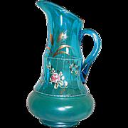 "Beautiful Moser Bohemian Pitcher Blue Glass Enameled Flowers  12"""