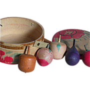 """Vintage Wood Spinner Tops in Unique Hand Painted One Piece wood Box Tops 1.5""""  Box 3"""" X 1-3/4"""""""