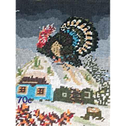 """Vintage Needlepoint with a Thanksgiving Theme for Framing or Chair Seat Cover  16.5""""  by  13"""""""
