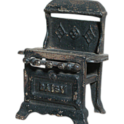 "Antique Cast Iron Stove Miniature Doll House size  Marked Daisy   4"" X 3"" X 2-1/4""  Black Finish 1900"