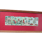 "Vintage Little Red Riding Hood Embossed Color Pictures  Framed in glass 12.5 "" by 5-3/4 ""  Oak Frame"