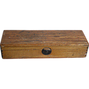 "Old Oak Wood School box  With a Some Accessory's Pre- 1920   8"" X 2-1/2"""