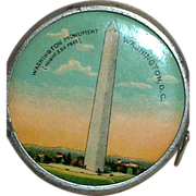 Vintage Celluloid & Metal  Retractable Sewing Measuring Tape Washington Monument 555 feet Washington D.C.    GERMANY