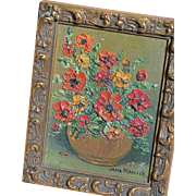 Oil Painting Miniature Floral Painting in Gold Ornate Frame by Jane Manick for Doll House Scene