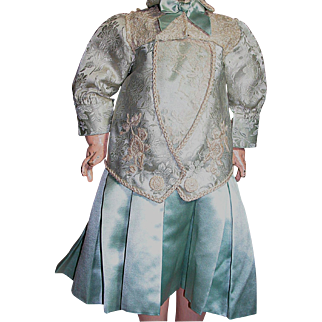 "Beautiful Jumeau Doll French Bebe Doll  Dress Two Piece  Blue Satin Brocade & Lace 17"" Long"