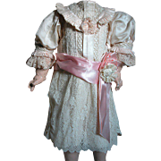 Beautiful Antique French Bebe Doll Dress  Pink Silk Trimmed with Lace - Red Tag Sale Item