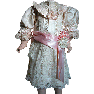 Beautiful Antique French Bebe Doll Dress  Pink Silk Trimmed with Lace