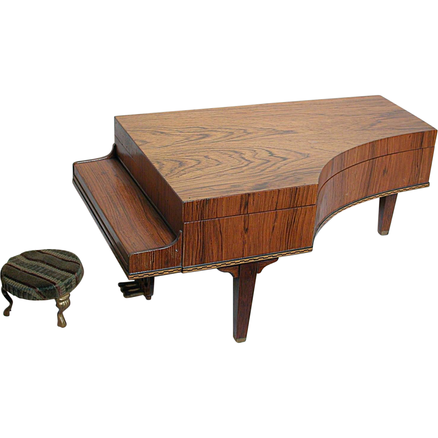 Antique Wood Grand Piano Music box Doll size Beautiful wood Play a
