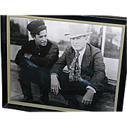 Black White Framed Photo Will Rogers & Charles Russell signed Autographs