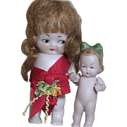 Two Tiny German All Bisque Painted features  Dolls