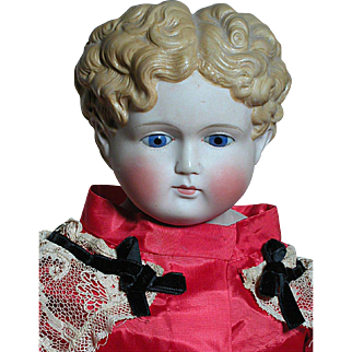 Large Antique Glass Eyed Parian Shoulder Head Doll Beautiful Dress