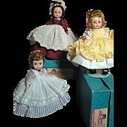 Madame Alexander Dolls Three Little Women Meg Amy Marme Mint in Box 1956-59